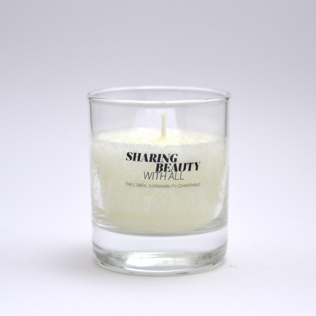 Clear Tumbler Candle with clear sticker