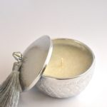 Embossed Silver Arabic theme candles with box