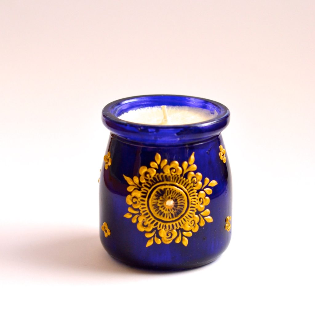 Handmade henna paint decorative candle