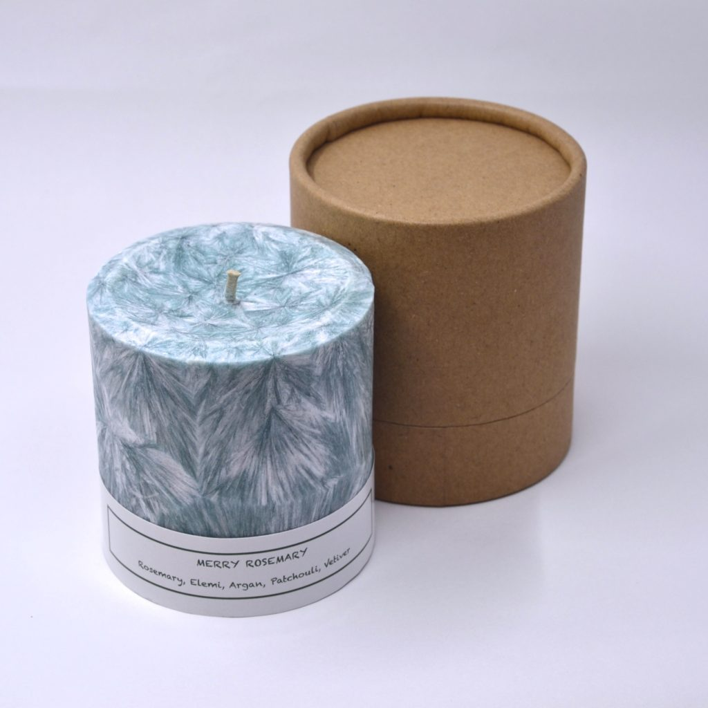 Pillar candle with Round tube box