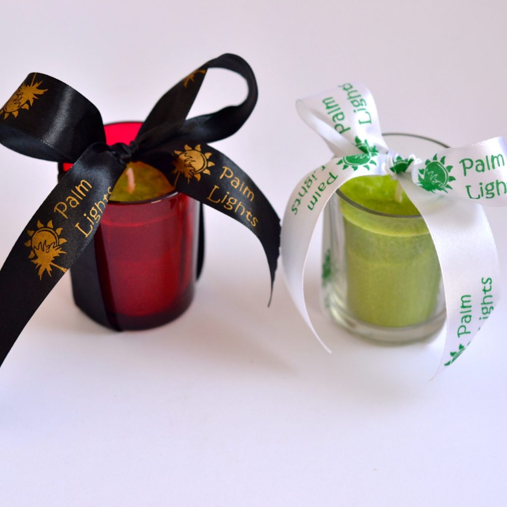 Votive candles in glass holders